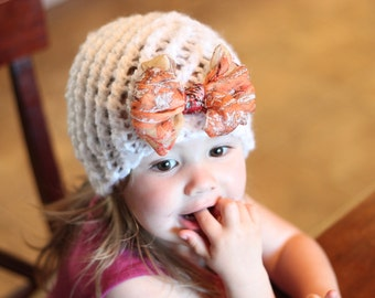 18-24m knitted  hat,baby girl hat,knitted lace hat,bow