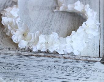 White Hydrangea Tie Back, Flower Girl Headband, First Comunion Headband, White Hair Accessories