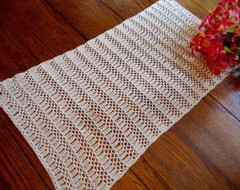 Crochet Dresser Scarf Vintage Hand Knit Table Runner Ivory Table Topper