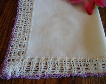 Antique Hankie Lace Hand Crocheted Trim Vintage Ladies Handkerchief