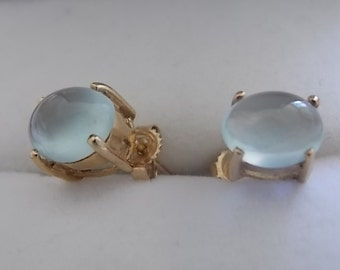 Vintage Moonstone 9ct Gold Earrings - GORGEOUS