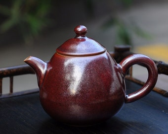 Iron Red Handmade Jingdezhen China Porcelain Gong fu teapot