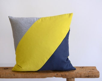 Navy Blue Yellow Pillow/Stripe Pillow/Pillow Cover/Summer Pillow Cover/Triangle/Handmade/Eclectic/ZigZag Studio Design