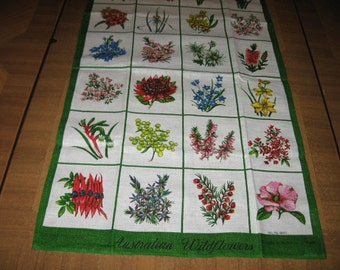 Australian Wildflowers Tea Towel Souvenir
