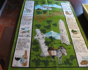 Souvenir of Ireland Recipe Tea Towel