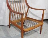Danish Modern MCM Peter Hvidt,  France & Son Oak Lounge Chair Denmark,  no cushion