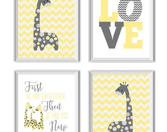 Giraffes Nursery Decor, Girl, Boy, Gender Neutral, Love Art Print, First We Had Each Other Now We Have Everything, Yellow Gray Grey, Giraffe