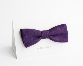 Violet bow tie, men's linen bow tie - double sided