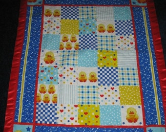 Summer Sale SALE - Ducks, Hearts, Stripes Quilted Crib Baby Quilt