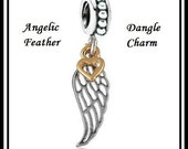 Angelic Feather ~ WiNG with Angel Feather Design with Gold Plated Heart ~ Antique Silver Charm Bead ~ fits European Bracelets - MS-1184