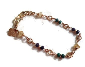 Gemstone Bracelet - Gold Jewelry - Sapphire Emerald Citrine Jewellery - Luxe - Blue Green Yellow