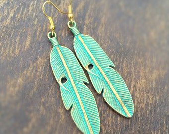 Feather Earrings - Patina - Gold Jewelry - Green - Southwestern Jewellery - Native American