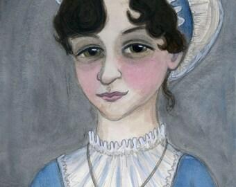 Jane Austen, Literary Portrait (11x14) Writers Art, Library Decor
