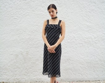 Sheer Striped Ruffle Dress with Neck Tie