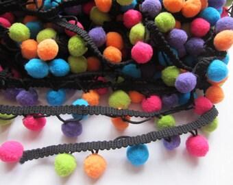 """One Roll 25y 1/2"""" Pom Pom Trim-multicolor"""