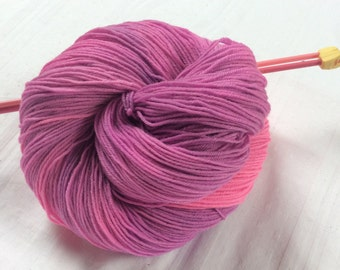 SALE Hand dyed Variegated 4ply Knitting or Crochet yarn. Sock Yarn. Bright Pink & Lilac. 'Lily The Pink' Colorway