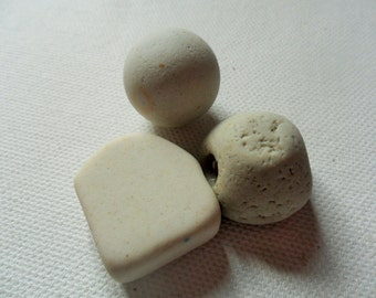 3 Seaham beach pottery finds - English beach glass