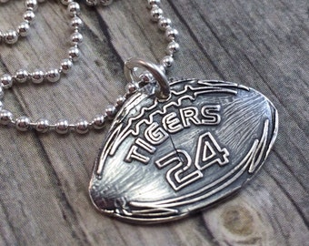 football necklace, fine silver, personalized with your team and number