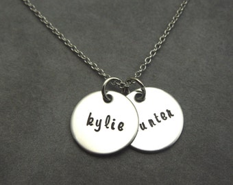 mothers necklace, personalized hand stamped stainless 2 name necklace, name necklace, date necklace