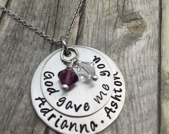Personalized Mothers hand stamped & domed necklace