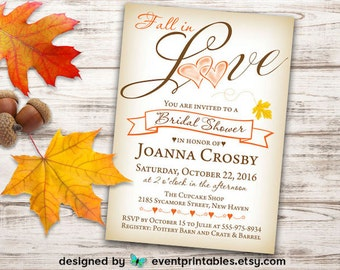 Fall Bridal Shower Invitation, Love, Heart, Leaf, Autumn, Orange, Yellow, Brown, Rustic, Printable DIGITAL FILE by Event Printables