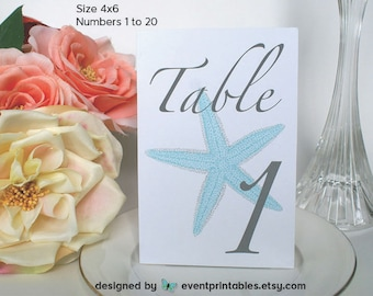 1 to 20 Printable Starfish Table Numbers, Aqua Blue Grey 4x6 Table Cards, Beach Wedding, INSTANT DOWNLOAD by Event Printables