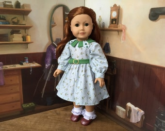 Vintage Style Long Sleeve Dress in Green and Light Blue for Kit, Ruthie or 18 inch Doll