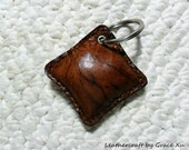 100% handmade hand stitched cowhide leather brown marbled pattern mini pillow key chain / key holder