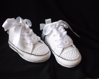 Bling Converse, AB Crystals, Baby Shoes, High Top Sneakers, Pearls Rhinestones, Size 1 2 3 4, Infant Girl