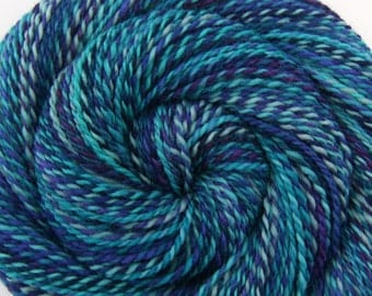 Hand Spun Yarn - ANCIENT MARINER - Handpainted Perendale wool, 2 ply Worsted weight, 236 yards