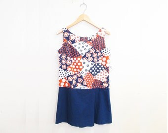 Vintage 1960s Romper   Red, White, and Blue Floral 1960s Mini Dress Playsuit   size small   6D008