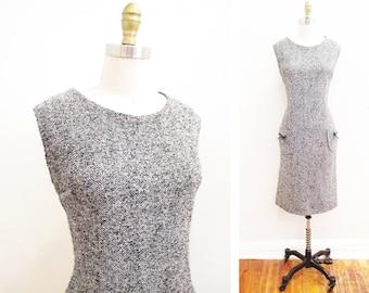Vintage 1960s Dress | Black and White Herringbone 1960s Wiggle Dress | size medium - large