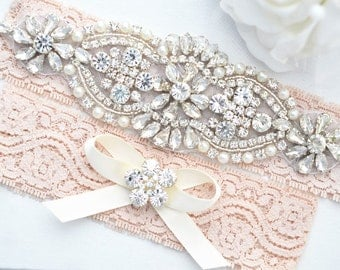 SALE BLUSH Crystal pearl Wedding Garter Set, Stretch Lace Garter, Rhinestone Crystal Bridal Garters