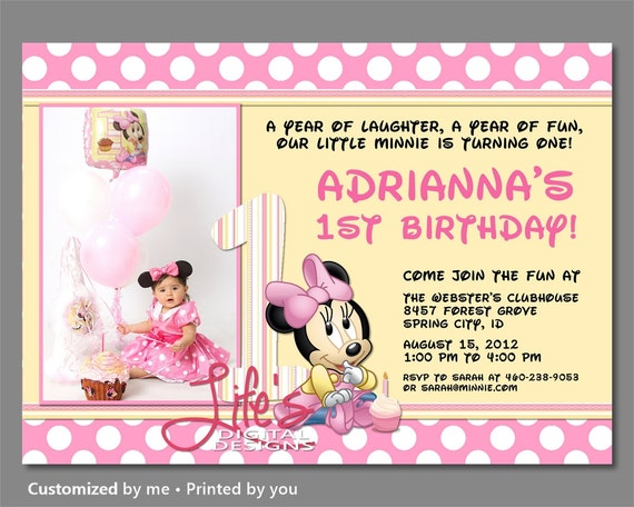 Baby Minnie Mouse invitation, First Birthday Minnie Invitation, Baby Minnie First Birthday Invitations, Baby Minnie Invitation, Photo Option