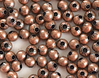 Copper Tone Pewter Round Spacer Bead -4mm- 100 Beads