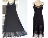 1940s Black Sheer Lucite Full Slip / Black Sheer Full Slip / Vintage Black Slip / Ruffle Slip Size 34