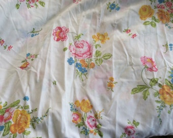 Floral Fitted Twin Sheet -  Shabby Chic - Fabric - French Cottage Decor -Cabbage Roses - Yellow Pink - Quilting - Girls Room - Cutter