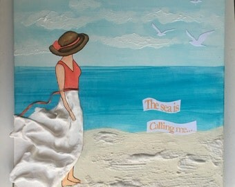 "Canvas Art, 12X12, ""The Sea Is Calling"", Mixed Media, canvas, beaches, wall art, home decor, acrylic, painting, girl, ocean, sea, vacation"