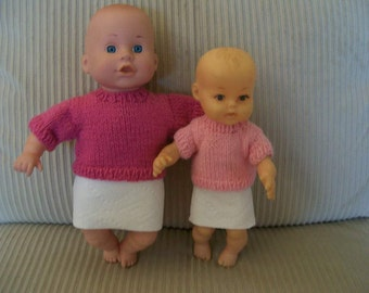 77) Knit Crew Neck Sweaters for 10 and 12 Cabbage Patch or 10 and 12 Inch Baby Dolls Sweater Crew Neck Back Closure Knit Hand Made Patterns