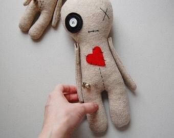 "Big Voodoo Doll, 12"" Voodoo Doll Plush, Handmade Halloween Decor Plushie, Creepy Cute Softie"