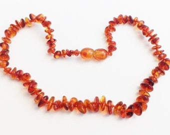 Baltic Amber Teething Necklace - Honey Color - Rounded Chip Shaped Beads - Made in Canada