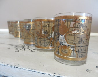 Mid Century Cera Map of World Drinking Glass Bar Glasses Glass Gin Glass Lowball Glass Gold and Black Retro Barware Madmen