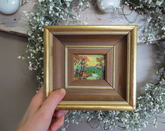 Miniature Acrylic Art Nature Scene Trees and Stream Hand Signed Original Acrylic Art Small Art Outdoor Scene River Fall Colors