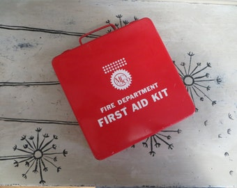 Red and White First Aid Kit Fire Department Kit Metal First Aid Storage Bin Storage Container Storage Tin Rustic Decor Shabby Storage Box