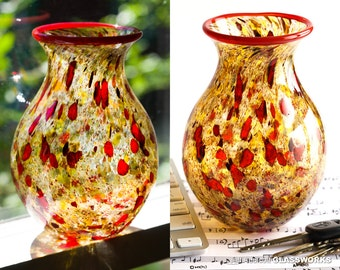 Hand Blown Art Glass Vase - Speckled Earth Tones with Dark Ruby Strokes