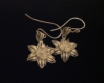 Bali sterling silver flower earrings