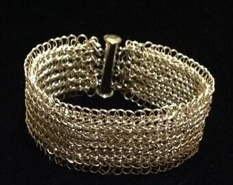 Sterling silver Crochet bracelet bar clasp