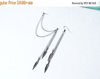 VALENTINES DAY SALE Dangling Silver Feathers Double Pierce Cartilage Earring (Pair)