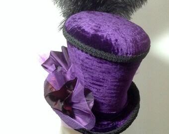 steampunk purple velvet mad hatter top hat