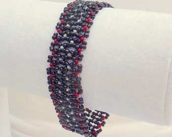 Black Seed Bead Woven Statement Bracelet With Luminous Red and Silver Crystal Accents